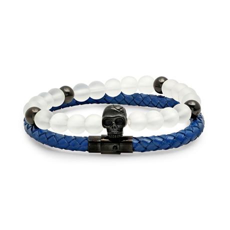 Braided Leather Bracelets + Steel Skull // Set Of 2
