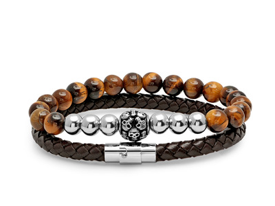 Braided_Leather___Tiger_Eye_Beaded_Bracelets___Stainless_Steel_Skull_Cluster