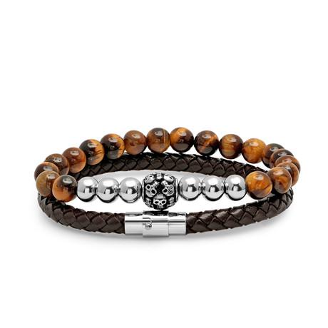 Braided Leather + Tiger Eye Beaded Bracelets + Stainless Steel Skull Cluster // Set Of 2