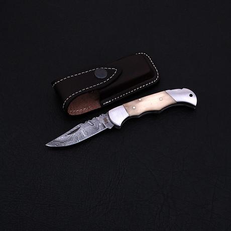 Damascus Folding Pocket Knife // 2334SB