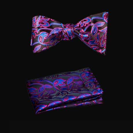 Self Bow Tie And Hanky Set // Pink + Blue