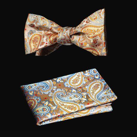 Self Bow Tie And Hanky Set // Cream + Beige + Orange