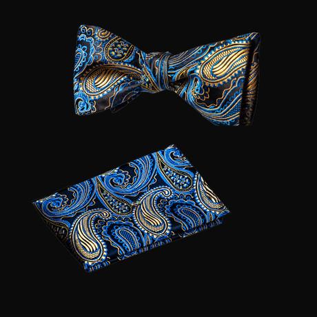 Self Bow Tie And Hanky Set // Blue + Black II