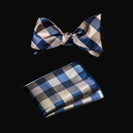 Self Bow Tie And Hanky Set // Nova + Black Plaid