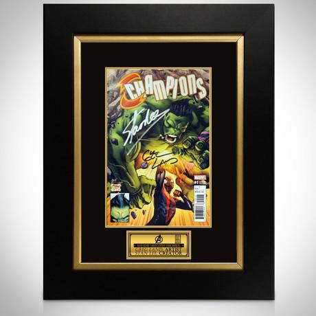 Champions #1 // Greg Land + Stan Lee Signed Comic // Custom Frame