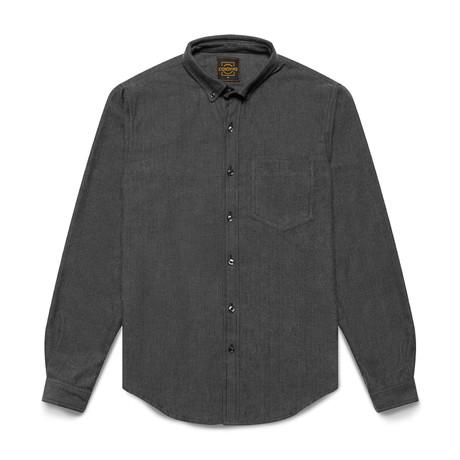 Casual Flannel Shirt // Charcoal Herringbone (XL)