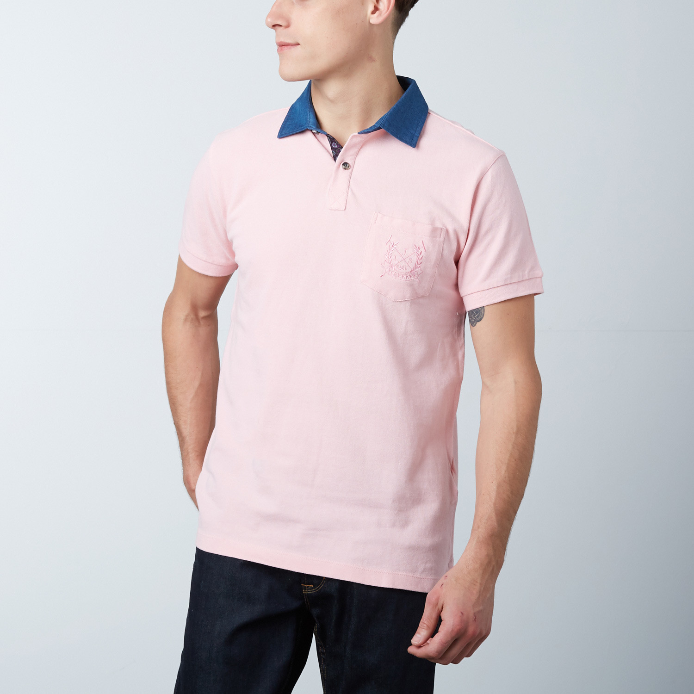Mens Polo Shirt Pink M Fashion Clearance Dress Shirts