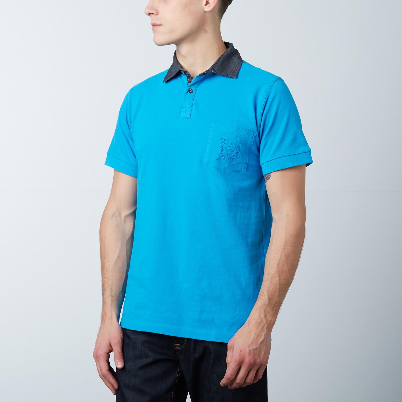 Mens Polo Shirt Blue Pink S Jean Louis Scherrer Touch Of