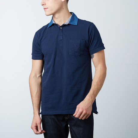 Men's Polo Shirt // Navy Stripe
