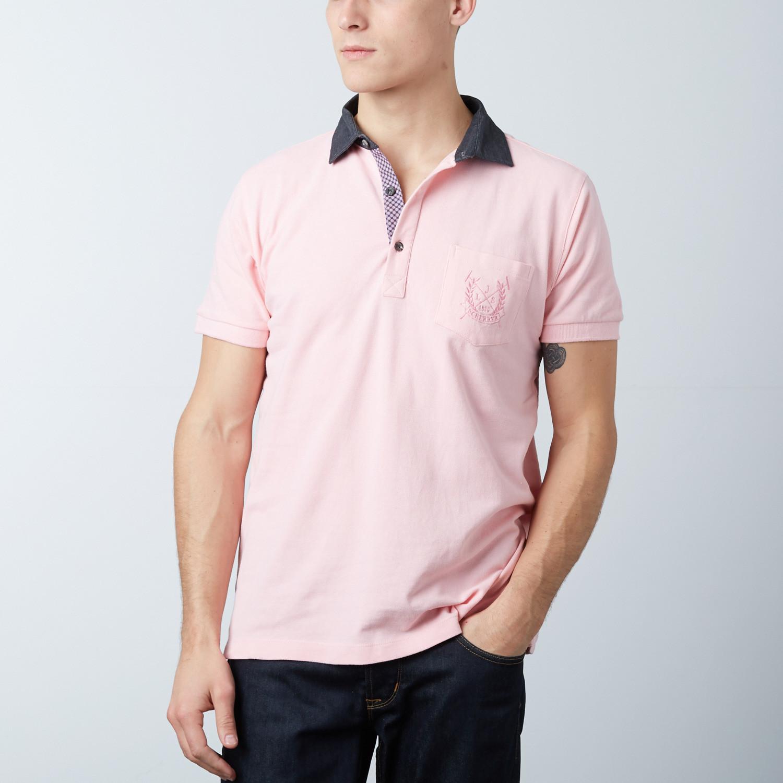 Mens Polo Shirt Pink Flower S Jean Louis Scherrer Touch Of