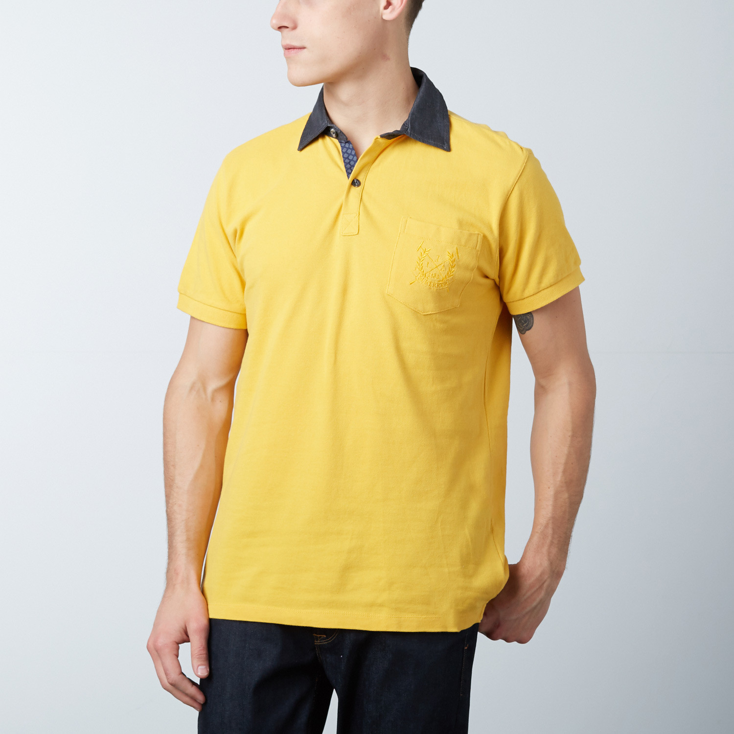 men 39 s polo shirt yellow geo print s jean louis. Black Bedroom Furniture Sets. Home Design Ideas