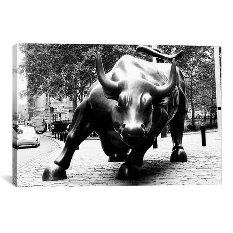 "Wall Street Bull Black & White // Unknown Artist (26""W x 18""H x 0.75""D)"