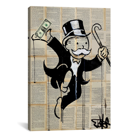 "Money Man by Loui Jover (18""W x 26""H x 0.75""D)"