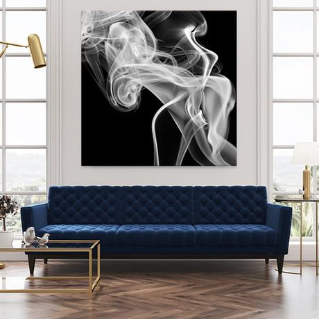 "Black Smoke Abstract Square (54""W x 54""H x 1.25""D)"