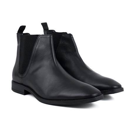 Leather Square Toe Chelsea Boot // Black (UK: 6)