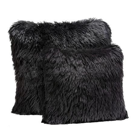 """Limited Edition Faux Fur Pillow // Black Llama (18""""L x 18""""W)"""