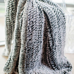 Knitted Faux Fur Throw // Black