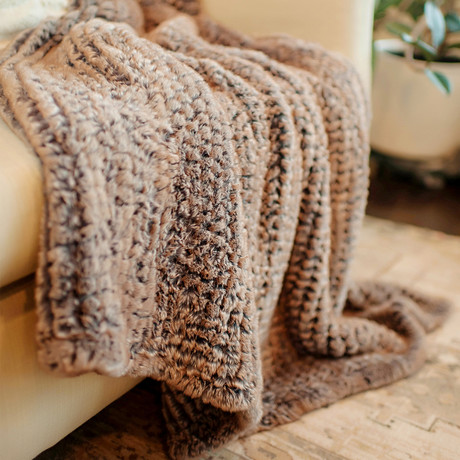 Knitted Faux Fur Throw // Natural