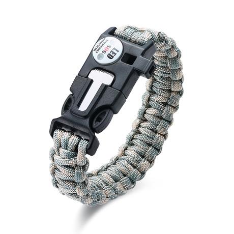 Survival Gear Paracord Bracelet // Grey