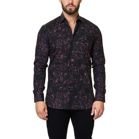 Luxor Shuttered Fushia Dress Shirt // Black