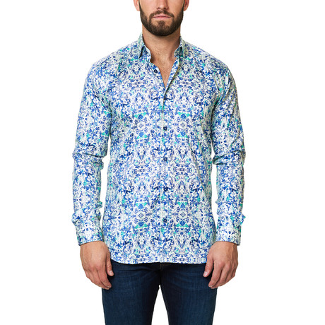 Luxor Desigual Dress Shirt // Blue Green (XS)