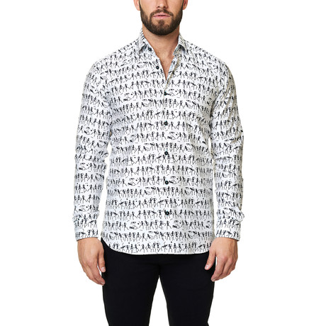 Luxor Funky Skeleton Dress Shirt // White (XS)