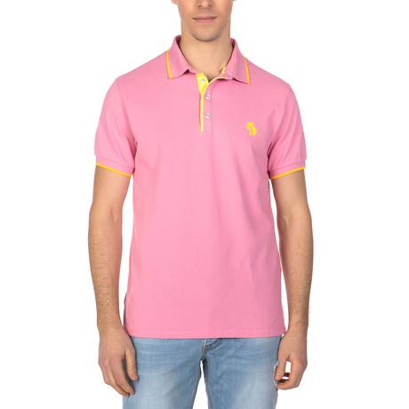 Duke Polo Short Sleeve Shirt // Pink + Yellow