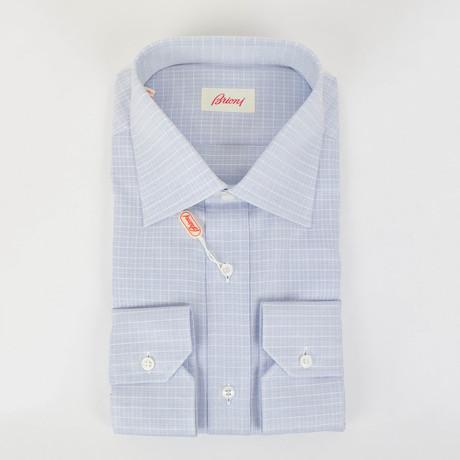 Checked Cotton Slim Fit Dress Shirt // Blue (15R)