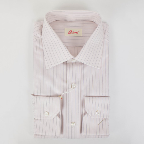 Striped Cotton Slim Fit Dress Shirt // Pink (15.5R)