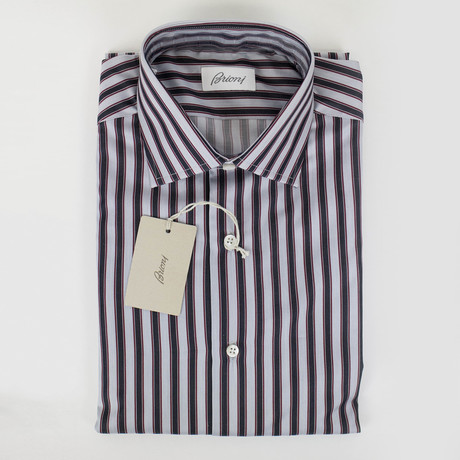 Charlie Striped Cotton Slim Fit Dress Shirt // Gray (US: 15.5R)