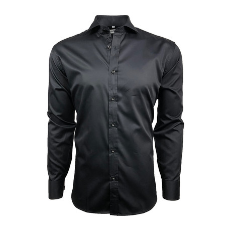 Semi Fitted Hand-Dyed Button Down Shirt // Classic Black (S)