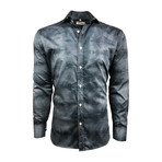 Semi Fitted Hand-Dyed Button Down Shirt // Black Denim Wash (2XL)