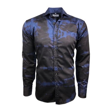 Semi Fitted Hand-Dyed Button Down Shirt // Cobalt Blue + Black (S)