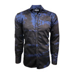 Semi Fitted Hand-Dyed Button Down Shirt // Cobalt Blue + Black (2XL)