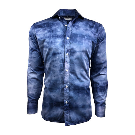Semi Fitted Hand-Dyed Button Down Shirt // Denim Wash (S)