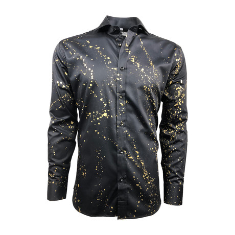 Semi Fitted Hand-Dyed Button Down Shirt // Black Gold Spray (S)