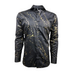Semi Fitted Hand-Dyed Button Down Shirt // Black Gold Spray (M)