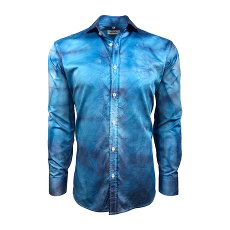 Semi Fitted Hand-Dyed Button Down Shirt // Turquoise Wash (S)