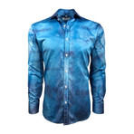 Semi Fitted Hand-Dyed Button Down Shirt // Turquoise Wash (L)