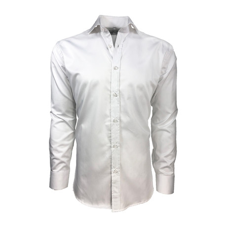Semi Fitted Hand-Dyed Button Down Shirt // Classic White (S)