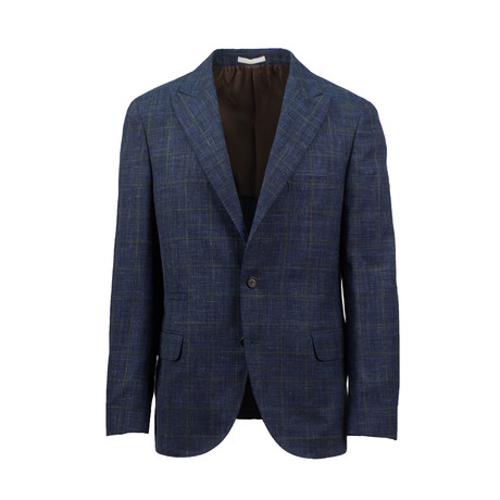 Checkered Wool Blend Sport Coat // Blue