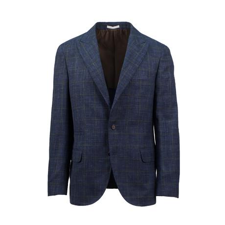Checkered Wool Blend Sport Coat // Blue (Euro: 44)