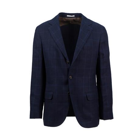 Checkered Wool Blend Sport Coat // Navy (Euro: 44)