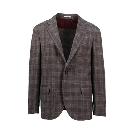 Checkered Wool Blend Unstructured Sport Coat // Brown (Euro: 44)