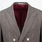 Striped Wool Double Breasted Sport Coat // Brown (Euro: 44)