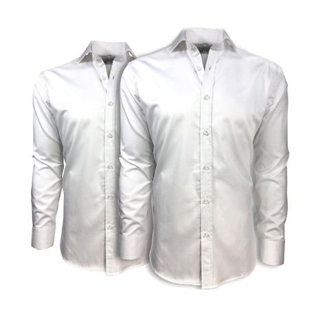 Semi Fitted Button Down Shirt // White + White // 2-Pack (S)