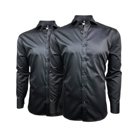 Semi Fitted Button Down Shirt // Black + Black // 2-Pack