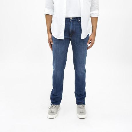 Normandie Slim Straight Jeans // Medium Wash + Whiskers