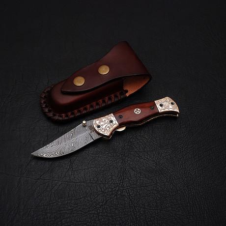 Damascus Liner Lock Folding Knife // 2646