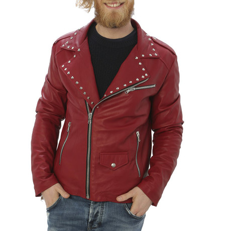 Kennedy Leather Jacket // Red (S)